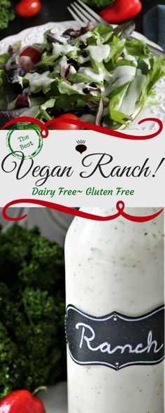 This Dairy Free Ranch Dressing is vegan, gluten free, cholesterol free, and can . This Dairy Free Vegan Sauces, Vegan Foods, Vegan Dishes, Vegan Ranch, Going Vegan, Raw Vegan, Vegan Milk, Free Food, Whole Food Recipes