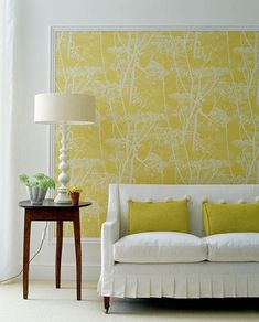Framed wallpaper - trim moulding cut to the proper size at Home Depot and painted white to frame a piece of wallpaper OK not wall paper . Look Wallpaper, Framed Wallpaper, Beautiful Wallpaper, Wallpaper Ideas, Wallpaper Panels, Wallpaper Headboard, Faux Headboard, Fabric Wallpaper, Orange Wallpaper