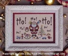 Ho Ho Ho is the title of this cross stitch pattern from Filigram. Click on highlighted link to order the Dinky Dyes Silk Pack.