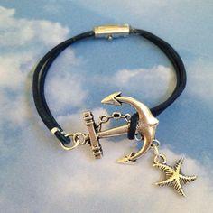 Anchor Leather Bracelet by joytoyou41 on Etsy, $25.00