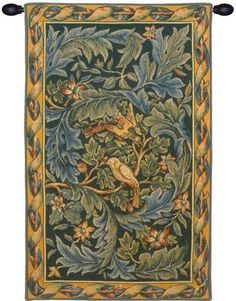 Woven in France History: Les Oiseaux, or The Birds, is a French woven jacquard wall tapestry. The artwork comes from William Morris (1834-1896), the famous Engl