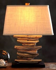 Driftwood table lamp Pottery Barn. Currently on Sale! Featured here: http://www.completely-coastal.com/2014/08/shop-driftwood-lamps.html