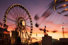 "A Ferris Wheel and the ""Yo-Yo"" Swing Ride - part of the carnival at the Houston Livestock Show and Rodeo. Houston Livestock Show, Fair Theme, Carnival Rides, Vintage Carnival, View Image, Dream Vacations, Ferris Wheel, Playground, Carnivals"