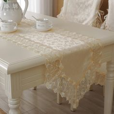Proud Rose Lace Table Runner Tablecloth Korean Style Bed Runner Beige TV Cabinet Cheap Table Runners, Lace Table Runners, Lace Bedding, Bed Runner, Bed Styling, Table Covers, Wooden Tables, Table Settings, Table Decorations