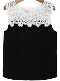Black Sleeveless Contrast Lace Chiffon Top 11.90