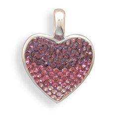 In The Pink - Pretty Design with Three Shades Of Pink Crystals Sterling Silver Adorable Pendant