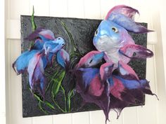 Fishie Pearls 3D textile felt sculpture wall art hanging in pearl pink, purple and blue. by NomesBCre8tions on Etsy