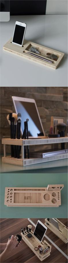 This is so awesome! It's a desk caddy that fits your iPad AND your makeup! Bring on those beauty tutorials! | Made on Hatch.co by independent makers & designers