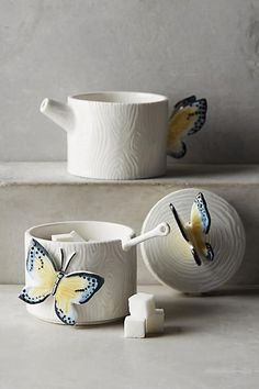 Anthropologie Butterfly Forest Stacking Sugar Pot & Creamer