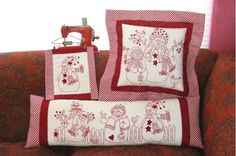 A happy group of smiling Snow People stitched in cheerful RedWork using #498 Turkey Red Perle cotton.  Stitch up these characters to warm all the chilly days of winter - not just for Christmas!  Add sparkling red glass beads instead of tricky French Knots coupled with wool applique dots, stars and hearts.