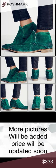 Free People Summit Ankle Boot Emerald New Vintage inspired distressed suede ankle boots, that have been individually hand washed to achieve a worn-in look and feel. Easy slip-on surplice design with hidden elastic gusset.   This vintage-inspired style has been handcrafted to reflect the look of an aged wear. The scuffing, marking and washed effects give this shoe its own unique characteristics. Featuring naturally vegetable tanned leather, this pair will soften and mold with each wear New in…