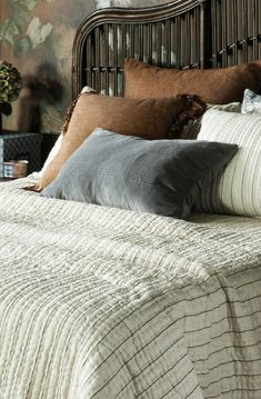 Rigare black and natural stripe bedspread with Ambiente slate cushion and copper accents Neutral Bedding, Linen Bedding, Bed Linen Design, Bed Design, Copper Accents, Fine Linens, Bedspread, Contemporary Interior, Linen Fabric