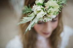 White hellebore and heather flower crown // Rainy romantic wedding shoot // Box and Cox Vintage Hire // The Natural Wedding Company
