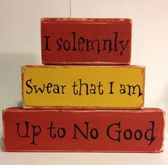 I Solemnly Swear that I am up to No Good - Harry Potter Decor Harry Potter Wood Blocks Mischief Managed Gryffindor Decor Marauder's Map