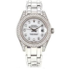 Pre-owned Rolex Pearlmaster 69359 18K White Gold Watch Factory Diamond... ($17,695) ❤ liked on Polyvore featuring jewelry, watches, accessories, bracelet watches, white watches, diamond dial watches, diamond bezel bracelet and pre owned watches