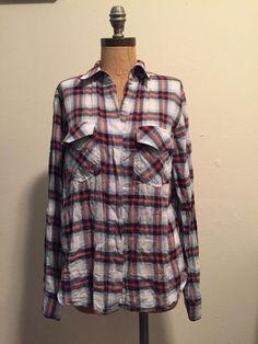 Sam Edelman Plaid Shirt Split Back Hem Roll Tab Sleeve M   eBay