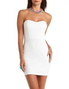 textured strapless bodycon dress. Beautiful