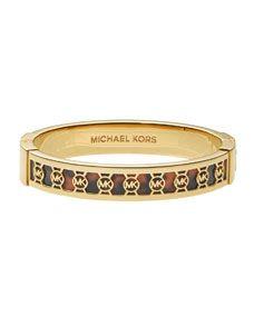 Michael Kors Monogram-Cutout Bangle, Golden/Tortoise