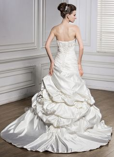 Trumpet/Mermaid Sweetheart Court Train Satin Wedding Dress With Ruffle Beading Flower(s) Sequins (002056591)