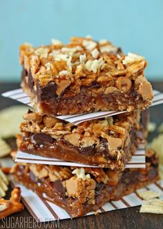 Dude Food Magic Bars  The bottom crust is made with crushed pretzels, then they're layered with crispy bacon, dark chocolate, peanut butter chips, and crushed potato chips, then finally they're drenched in salted caramel sauce.