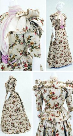 Afternoon dress ca. 1892. Brocaded silk satin & velvet. Chiffon blouse with tailored jacket built onto it. Self-ribbons on jacket shoulders, which was common in the early 1890s. Decorative enamel buttons. Bunka Gakuen Costume Museum