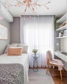 Bedroom Design Ideas for Small Rooms You Will Love 7 - Bedroom Design Ideas for Small Rooms You Will Love – 10 Exciting Bedroom Decorating Ideas Small Bedroom Designs, Small Room Design, Small Room Bedroom, Small Rooms, Bedroom Decor, Bedroom Ideas, Bed Room, Dorm Room, Girls Bedroom