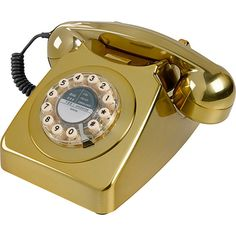 Wild & Wolf Classic Telephone - Brass Brushed (125 CAD) ❤ liked on Polyvore featuring home, home decor, fillers, phones, decor, furniture, metallic, inspirational home decor and brass home decor