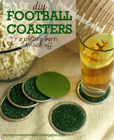 DIY Crafts | Are you hosting a Super Bowl party this year? Get ready for the big game with these DIY football coasters inspired by Pottery Barn!