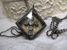 rhinestone cross charm necklace with aged by shadesofakasha, $35.00