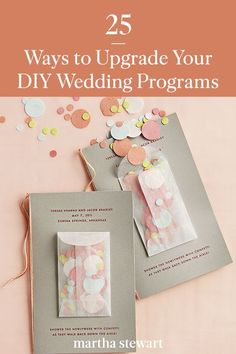 With these easy and pretty ideas for sprucing up your wedding programs, you can add one of these special details to your wedding ceremony on your own or at the last minute. #weddingideas #wedding #marthstewartwedding #weddingplanning #weddingchecklist Diy Wedding Programs, Ceremony Programs, Wedding Ceremony, Felt Pouch, Glassine Envelopes, Eureka Springs, Letter Size Paper, Custom Stamps, Newlyweds