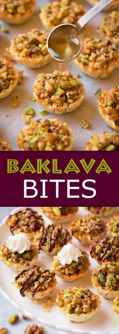 Baklava Bites – Cooking Classy Baklava Bites – Easier and quicker than the traditional baklava but just as delicious! Lebanese Desserts, Lebanese Recipes, Turkish Recipes, Greek Recipes, Persian Recipes, Lebanese Cuisine, Arabic Dessert, Arabic Food, Arabic Sweets