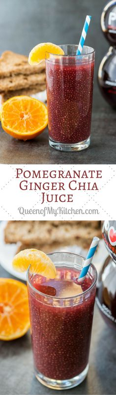Pomegranate Ginger Chia Juice – A healthy breakfast or post-workout beverage chockfull of antioxidants. Slightly sweet and tart with a zing of ginger. Easy Smoothies, Smoothie Recipes, Vegan Smoothies, Juice Recipes, Detox Recipes, Drink Recipes, Yummy Drinks, Healthy Drinks, Healthy Food