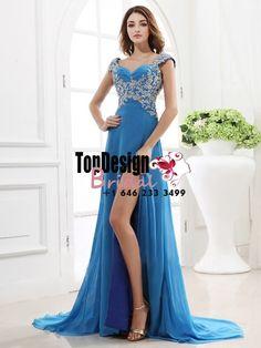 Wholesale Vestidos De Fiesta 2017 Brand New Evening Party Gown Straps Beading Blue Chiffon Prom Dresses