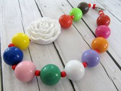 Colorful bright  fun chunky necklace girls by PaigeandPenelope, $20.00