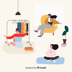 Collection of people enjoying their free time Free Vector Illustration Inspiration, Funny Illustration, Character Illustration, Digital Illustration, Map Illustrations, Dashboard Design, Ios Design, Graphic Design, Drawing Body Proportions
