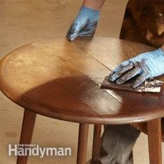 It's amazing what a coat of gel stain can do to restore a tired-looking piece of furniture. The cool part is that you don't need to strip the old finish for this to work.