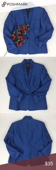 KASPER || Blue Blazer Blue KASPER blazer. Beautiful blue color and fabric has a slight sheen to it making this jacket almost shimmer. Perfect for dressing up! Long sleeve with slit and sleeve bottoms. One button closure. Bust 41in, Length 25in. 70% Polyester, 27% Rayon, 3% Other. Lining 100% Polyester. Kasper Jackets & Coats Blazers