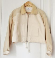 80s Courrèges cropped jacket beige wool bomber by LesTresorsParis