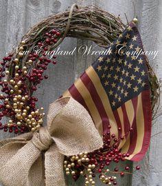 Americana Wreath Patriotic Wreath Fall Wreath by NewEnglandWreath