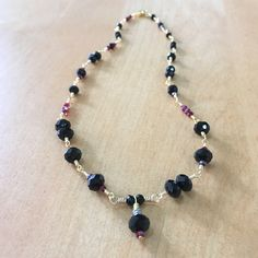 Nita Black and Red Crystal Wire Work Necklace at SaraGraceDesigner.com