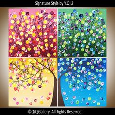 "***TITLE: ""365 Days of Happiness II  ***SIZE: 4 x 18x 18x0.8"" (total size: 36x36)  **COLORS: Rich in vibrant colors such as magenta, blue, green, red, yellow, orange, brown, and violet. ***THEME: Four seasons: winter, spring, summer and autumn using same tree but with different colors of swelling leaves. This painting consists of four 18 x18panels.  ***MEDIUM: Professional grade acrylics or oils on stretched canvas. The sides are painted black, so theres no need to frame it. A coating of…"