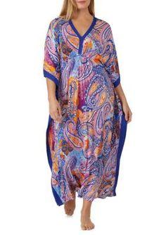 2f03e96659a Ellen Tracy Women s Plus Size Printed Jersey Caftan - Blue Multi - 1X Plus  Size Patterns