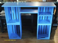 Crate desk From Joanne's Fabric; the top is pine and the shelves pine Crate Desk, Crate Shelves, Teen Desk, Bedroom Desk, Cool Tables, Diy Pallet Furniture, Wooden Crate Furniture, Wood Crates, Diy Desk