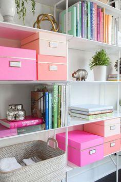Estantería con libros, elementos decorativos como figuras de animales y pequeños maceteros con plantas y cajas en diferentes tonos de rosado con tarjetitas en la parte frontal de las cajas.