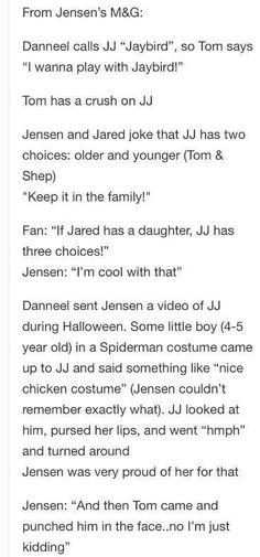 Some cute tidbits from the Jensen Meet and Greet :D  #BurCon2014