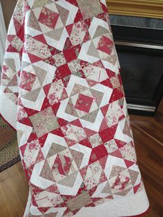 Quilt made from a Rounerries Deux jelly roll--I have this pattern. Love it with these fabrics.