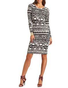 printed hacci midi dress