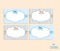 baby shower labels baby labelsEDITABLE blue white by MokileArt