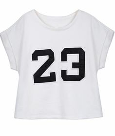 White Short Sleeve Patched PU Leather 23 T-shirt pictures