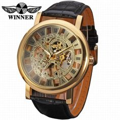 Fashion Winner Black Leather Band Skeleton Mechanical Watch For Man ,Gold Mechanical Gents Wrist Watch-Forsining Watch Company Limited www.forsining.com